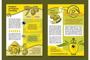 Olive oil product and olives vector posters set
