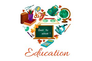Education vector poster of school study supplies