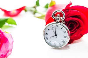 vintage clock and rose