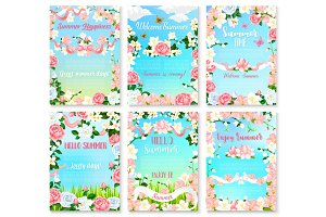 Hello Summer floral banner set with flower frame