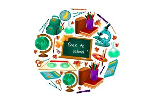 Back to School vector poster of study supplies