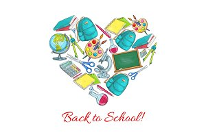 Back to School vector heart poster