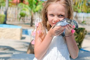 Adorable little girl with a small turtle in her hands in the natural reserve