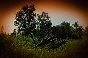 Vintage broken fence