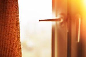Window curtain with light leak bokeh background