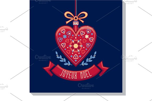 Noel Christmas Card Red Heart