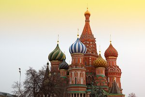 Saint Basil's Cathedral on Moscow Red Square sunset background