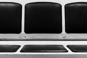 Horizontal vintage black and white sits in Moscow metro urban ba