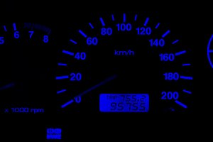 Horizontal isolated blue car speedometer no fuel panel backgroun