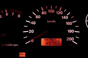 Horizontal isolated red car speedometer no fuel panel background