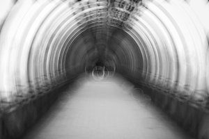 Black and white swirl tunnel abstraction background