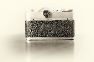 Vintage camera back bokeh background
