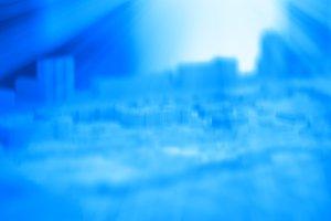Horizontal city mockup with light leak illustration background