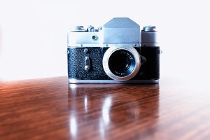 Vintage rangefinder camera background