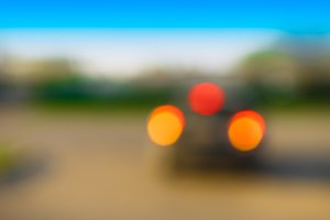 Horizontal car back lights bokeh background