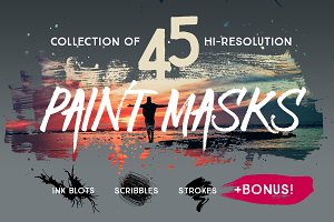 45 Grungy Paint Masks PSD