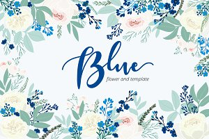Blue flower hand drawn vector