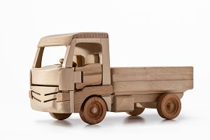 Models of trucks from wood.
