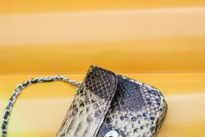 Fashion luxury snakeskin python handbag on a Inflatable Yellow Mattress in Swimming Pool. Summer mood.