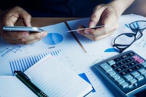 Man calculate business finance