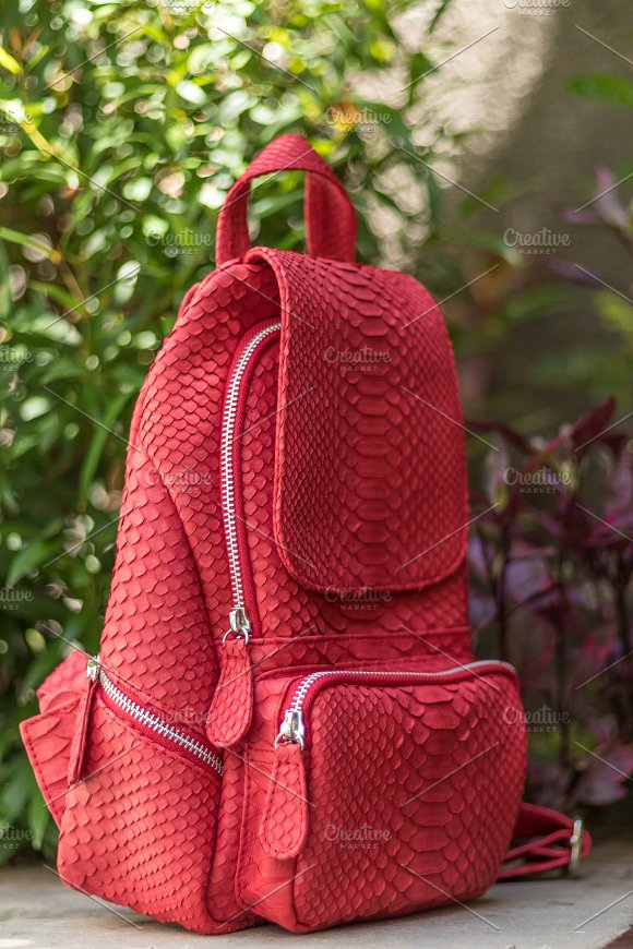 Stylish Red Leather Snkeskin Python Rucksack Near The Swimming Pool Bali Island
