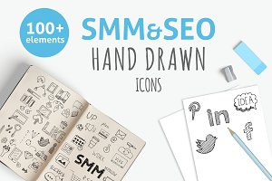 SMM&SEO hand drawn icons