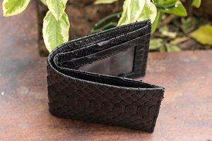 Empty handmade snakeskin python wallet.