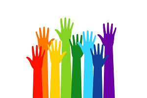 Colored volunteer crowd hands