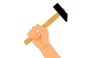 Hand with hammer icon