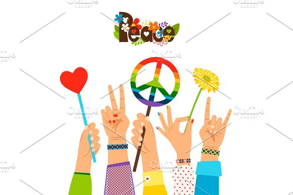 Hippie Peace Signs In Hands