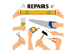 Home repair tools in hands
