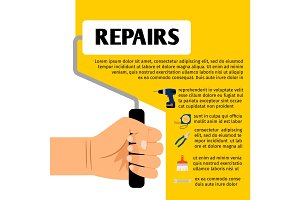 Repair tools poster design