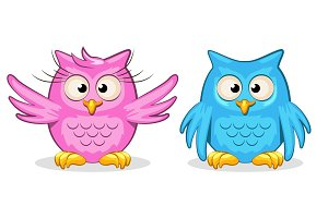 Cartoon funny colored owls