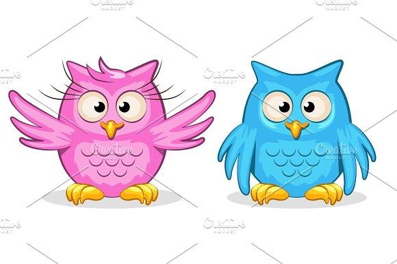 Cartoon Funny Colored Owls