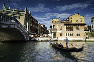 Ancient buildings and boats in the c