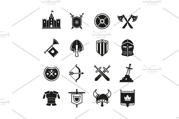 Medieval Warriors Shield And Sword Vector Icons Ancient Knight Symbols