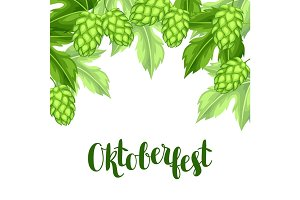 Green hops with leaf. Oktoberfest beer festival. Illustration or card for feast