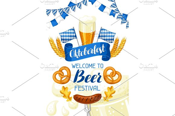 Oktoberfest Welcome To Beer Festival Invitation Flyer Or Poster For Feast