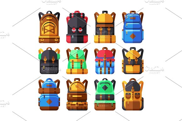 Tourist Backpack Vector Flat Icons Hiker Knapsack Isolated On White