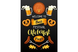 Oktoberfest. Welcome to beer festival. Invitation flyer or poster for feast