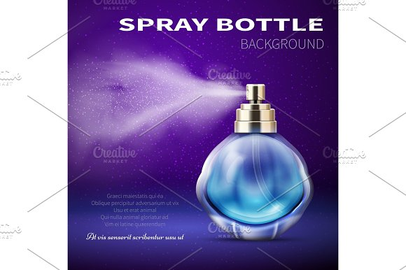 Deodorant Bottle With Translucent Water Spray Mist Product Promotional Vector Background