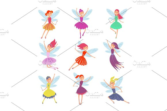 Flying Fairy Girls With Angle Wings Vector Characters Set