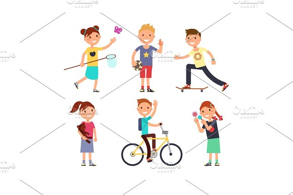 Playing Children With Toys Happy Kids In Playground Vector Set