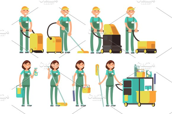 Cleaner Vector Characters With Cleaning Equipment Cleaning Company Team In Uniform Vector Set