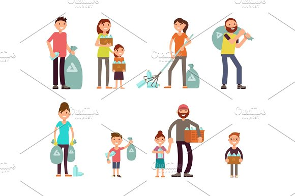 Group Of People Adult And Kids Characters Gathering City Garbage And Plastic Waste For Recycling Vector Set