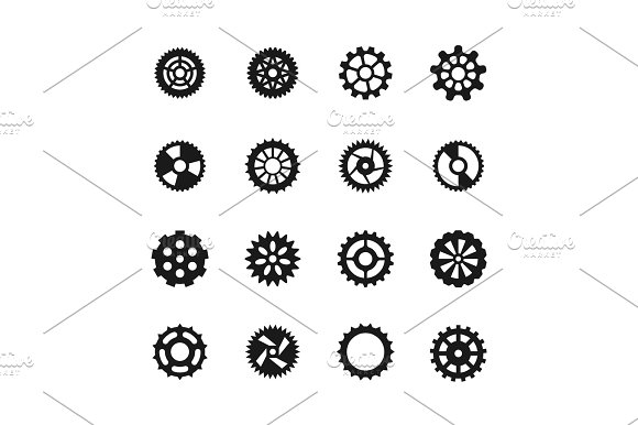 Gear Vector Icons Transmission With Cogwheel And Mechanism Gears Symbols