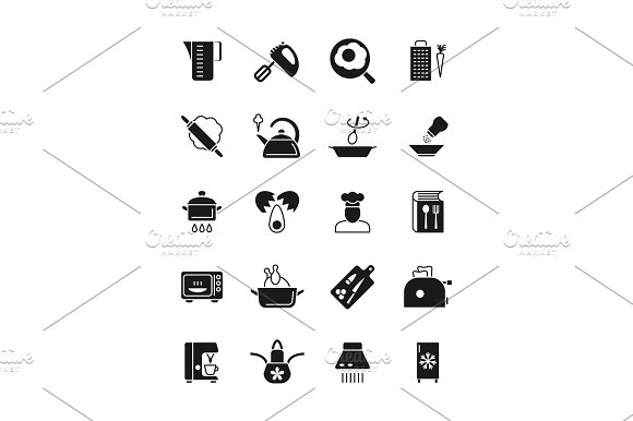 Cooking And Kitchen Equipment Black Silhouette Vector Icons