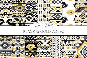 Black & Gold Boho Seamless Pattern
