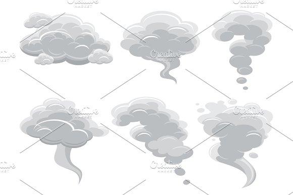 Cartoon Smoking Clouds And Comic Cumulus Cloud Vector Collection