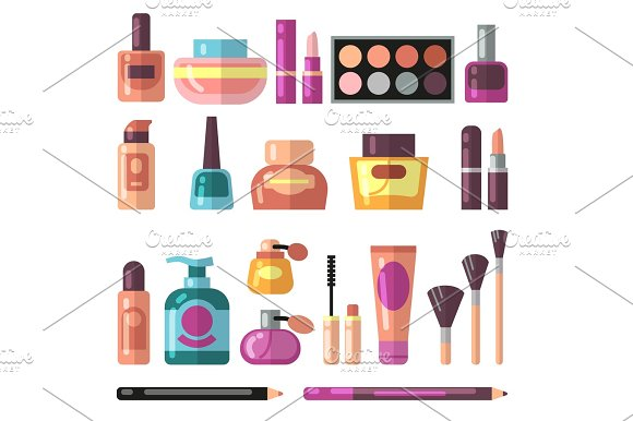 Girl Accessories Beauty And Makeup Flat Vector Icons Cosmetics And Perfume Pictograms